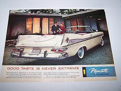 """1959 Plymouth Fury Convertible """"Good Taste is Never Extreme"""" ORIGINAL Ad Poster"""