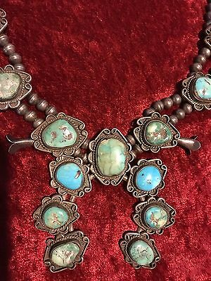 2 of 3 Antique Navajo Squash Blossom Necklace beautiful Silver Turquoise Vintage
