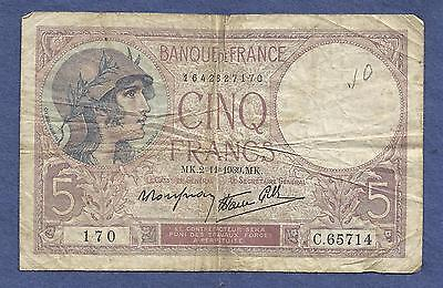 FRANCE 5 Francs 1939 Banknote C65714 (P83) - HISTORICAL WWII Currency !!!