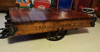 Industrial Cart Coffee table Chase E Francis Rushville Indiana