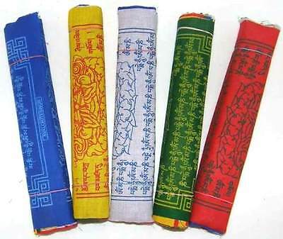 Cotton Tibetan Prayer Flags - 6 Rolls/5 Colours/60 Flags - Large-Variety Choice