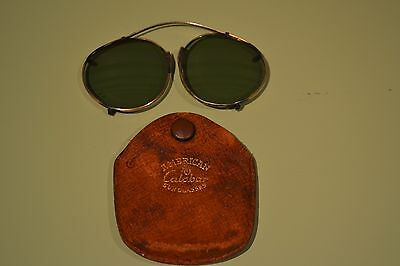 American Calobar AO Folding Clip On Vintage Sunglasses in Leather Case