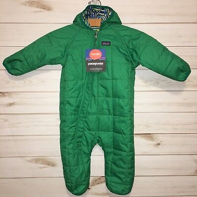 NEW Patagonia Baby Green Quilted Reversible One Piece Snowsuit. Size 18M