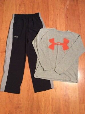 Under Armour Boys Youth Athletic Pants And Tshirt Black Gray Size XL
