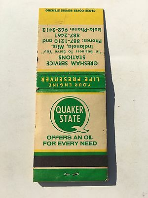QUAKER STATE OIL Gresham Service Station INDIANOLA MISSISSIPPI MISS MATCH BOOK