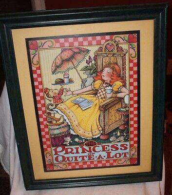 """Adorable Matted & Framed Mary Engelbreit Print """"Princess of Quite-a-Lot"""" 11x17"""