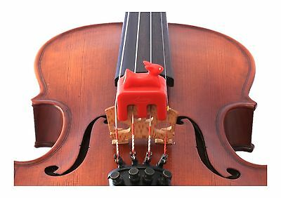 New Otto Musica artino weighted red rabbit violin viola practice mute 4/4 size