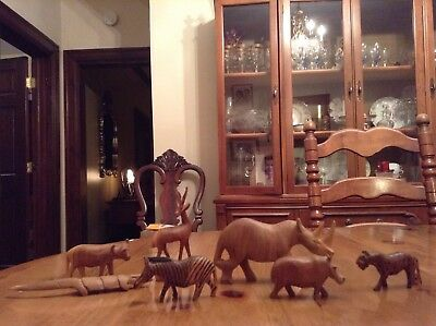 Hand Carved Wooden African Animal Figures