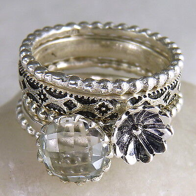 STACK 5 Rings Set Size US 7 SilverSari POPPY/GEMS Solid 925 Silver & WHITE TOPAZ