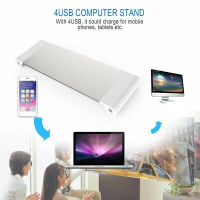 4 Ports USB Monitor Stand Holder Phone Charger Desktop Bracket for PC Laptop MU