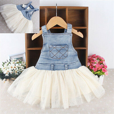 Cute Baby Clothes toddler Infant girls dress Tulle denim Stiching Overall dress