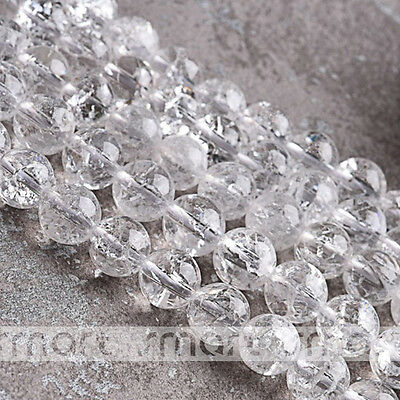 """White Synthetic Cracked Crystal Round Loose Beads 15.5"""" One Strand 6 8 10 12mm"""
