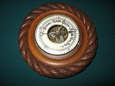 Antique Oak Rope Carved Aneroid Barometer With Beveled Glass Nice But For Parts