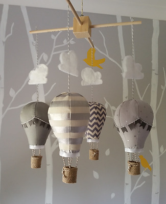 Baby mobile for childs nursery - Hot Air Balloons in Silver, grey and cream