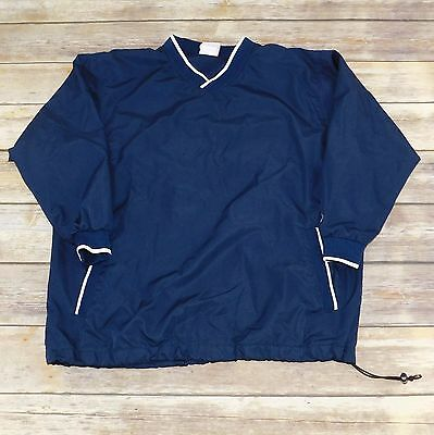 Rawlings Baseball Warm Up Windbreak Navy Blue Pullover Jacket, Youth Large