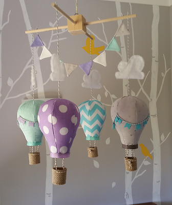Baby mobile for childs nursery - Hot Air Balloons in Aqua, Lilac, Mint ad Grey