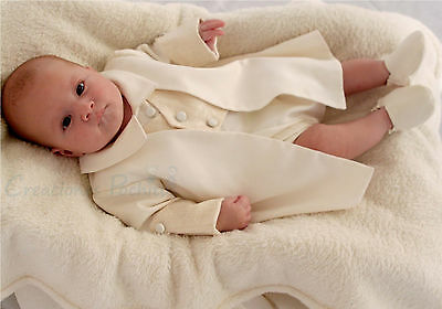 Christening Outfit Suit for Toddler Baby Boys 4 pcs set Ivory Beige 0-12 Months