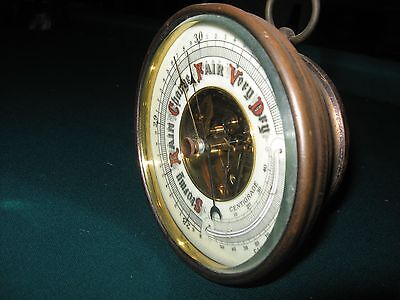 Antique Brass Beveled Glass Barometer Thermometer Aneroid Fully Functioning Nice