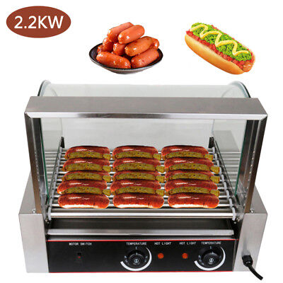 Commercial 30 Hotdog Roller Hot Dog 11 Roller Grill Cooker Machine W/Cover