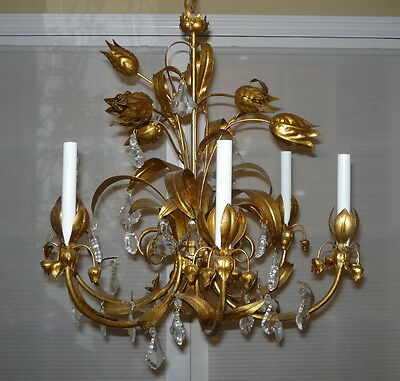 Vintage Italian Tole Leaf Gilt Gold Chandelier 6 Arm Prisms Hollywood Regency