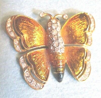 Vintage Multi-color Ombre Metal Shiny Butterfly Pin Brooch Crystal Edges & Body