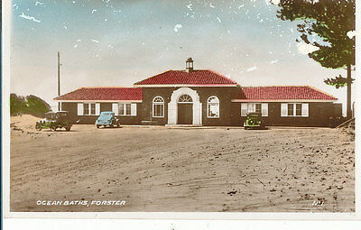 """FORSTER, NSW,  Real Photo Postcard """"FORSTER OCEAN BATHS""""."""