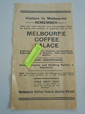 1912 orig paper advertisement Melbourne Coffee Palace Hot & Cold Baths etc!