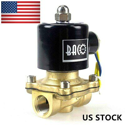 "BACO N/C 3/8"" NPT 110V AC Brass Water/Air/Fuels/Gas Electrical Solenoid Valve"