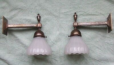 Vintage Art Deco 1930s brass wall lights X 2 from Lloyds of London building