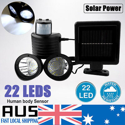 Waterproof 22 LED Solar Power PIR Motion Sensor Outdoor Wall Light Spot Lamp NEW
