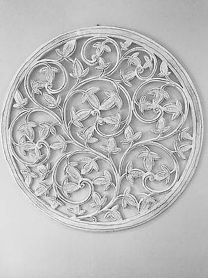 White Wood Carved Wall Art. Panel. 75 x75 cm Shabby Chic,Hamptons, French