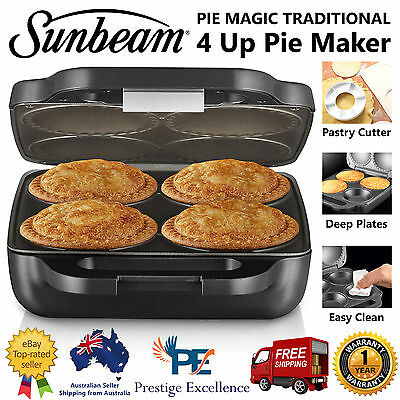 Sunbeam PM4800 Pie Maker Magic Traditional 4 Up Deep Sized Pies Non-stick Plates