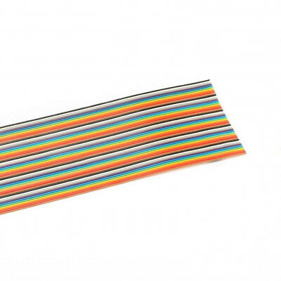 10Way - 50Way Dupont Wire Flat Flexible Rainbow Ribbon PCB Cable Pitch 1.27MM TS