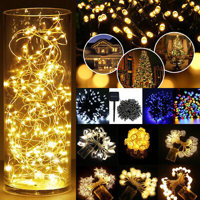 2m 10m 100m Solar/Electric/Battery Fairy Outdoor Indoor String Lights Christmas