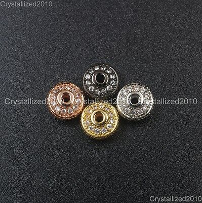 Zircon Gemston Pave Vintage Bicone Spacer Loose Connector Charm Beads 4mm x 7mm