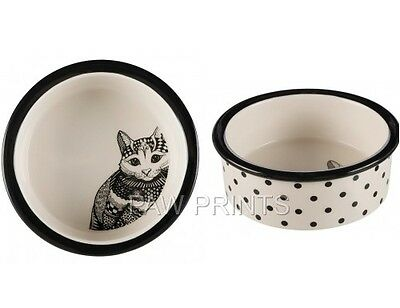 Zentangle Cat Image Ceramic White & Black Cat Food Or Water Bowl Dish 25120