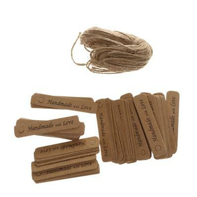 100pcs Handmade with Love Kraft Paper Gift Tags Labels Party Decoration DIY