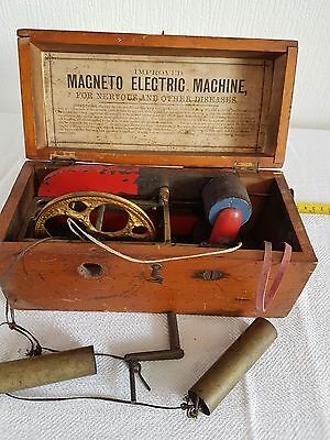 Improved Magneto Electric Shock Antique Machine & Box  Doctors Tool
