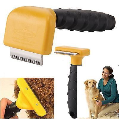 New HQ Pet Dog Cat Hair Fur Shedding Trimmer Grooming Rake Comb Brush Tool UK