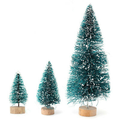 5Pcs Christmas Home Office Decor Mini Sisal Bottle Brush Xmas Tree Snow Frost