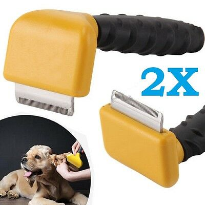 2X HQ Pet Dog Cat Hair Fur Shedding Trimmer Grooming Rake Comb Brush Tool UK