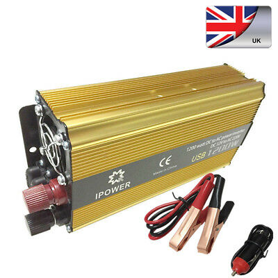 Power Inverter 1200W Converter Modified Sine Wave DC 12v to AC 240V Invertor USB
