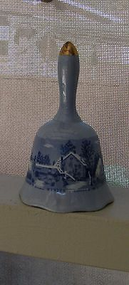 Vintage Bell Currier and Ives Blue White Winter Scene