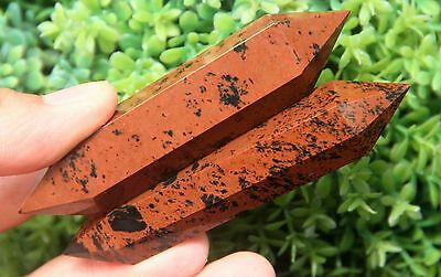 73g 2pcs  NATURAL RED OBSIDIAN POLISHED CRYSTAL DT WAND POINT HEALING