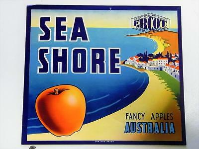 Vintage Tasmanian Paper Apple Label - Sea Shore (Ercot) New Old Stock