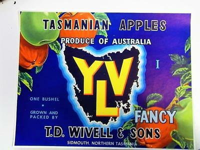 Vintage Tasmanian Paper Apple Label - Yla T.d. Wivell & Sons - New Old Stock