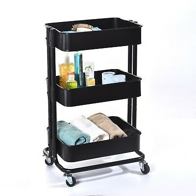 Rolling Storage Cart, MaxTronic 3 Tier Rolling Storage Utility Organization Cart