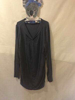 Jeanswest Maternity XL Long Sleeve Top Side Ruching Cross Over Neck Petrol Blue