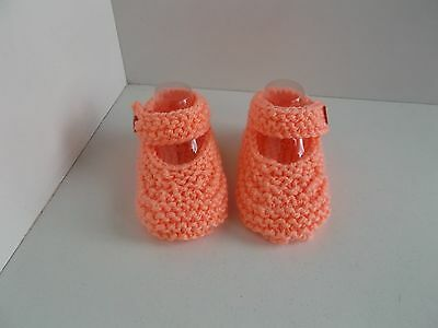 New Hand Knitted Baby Mary Jane Shoes/Booties 0-3 Months Peach