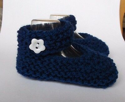 New Hand Knitted Baby Mary Jane Shoes/Booties 0-3 Months Navy Blue